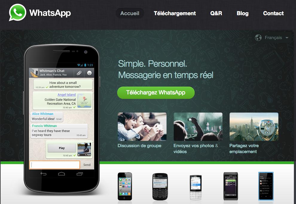 Page d'accueil WhatsApp