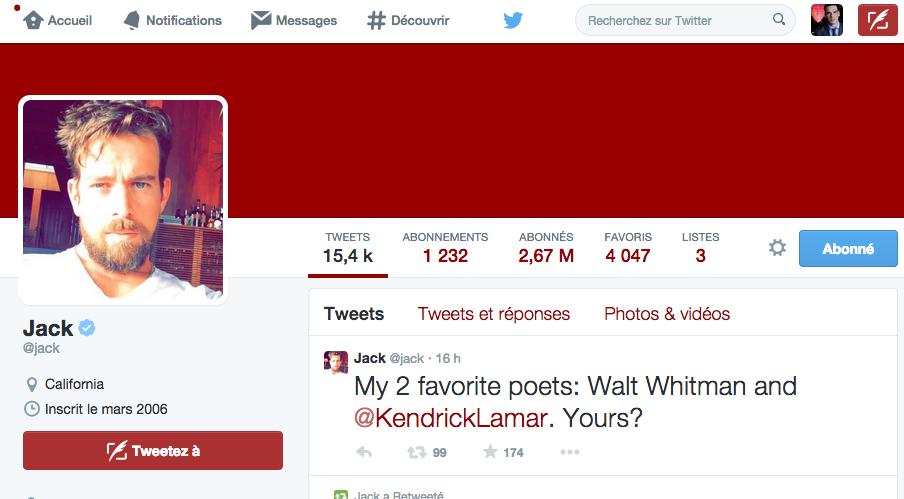 Profil de Jack, le fondateur de Twitter