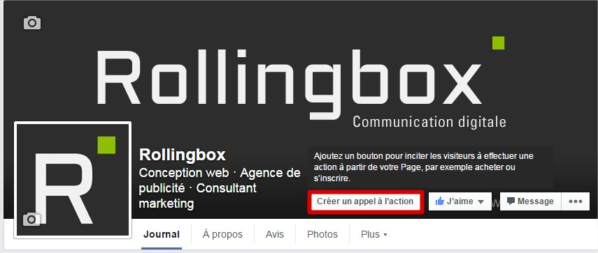 Capture d'écran de la page Facebook de Rollingbox
