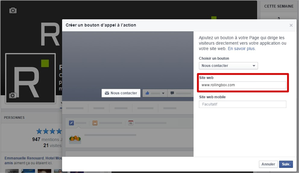 Fonctionnalité call to action sur Facebook