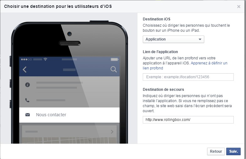 Facebook Call to action iOS