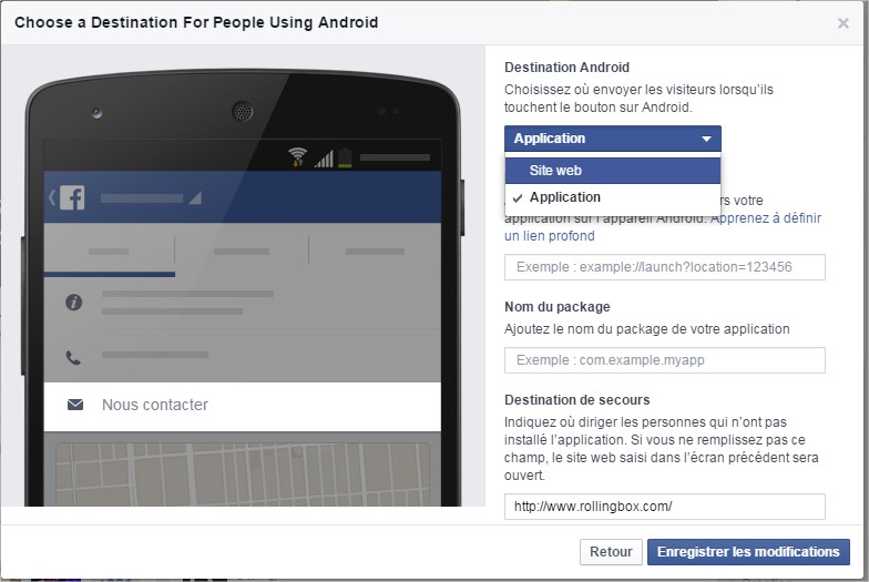 Facebook call to action Android