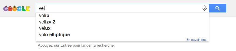 Auto-complétion sur Google