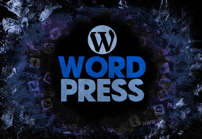 affichage sur fond bleu du logo de wordpress